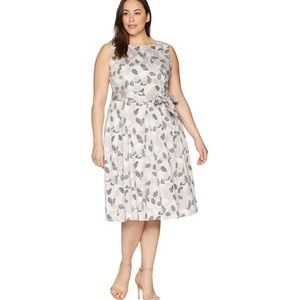 Anne Klein Pleated cotton fit and flare dress 20W